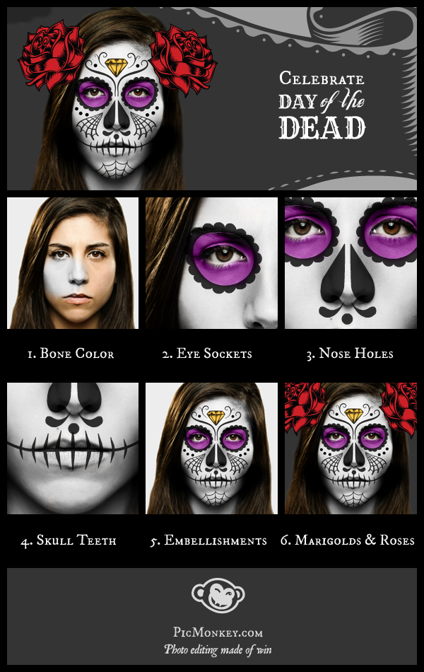 Photo showing how to make a sugar skull, step by step