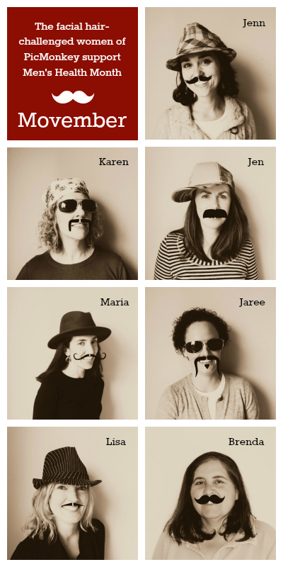 photo of PicMonkey women wearing Movember mustaches