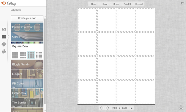 screen shot of choosing Square Deal layout