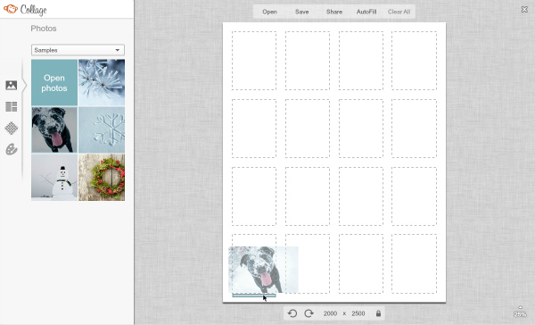 Screen shot of adding a row in Collage