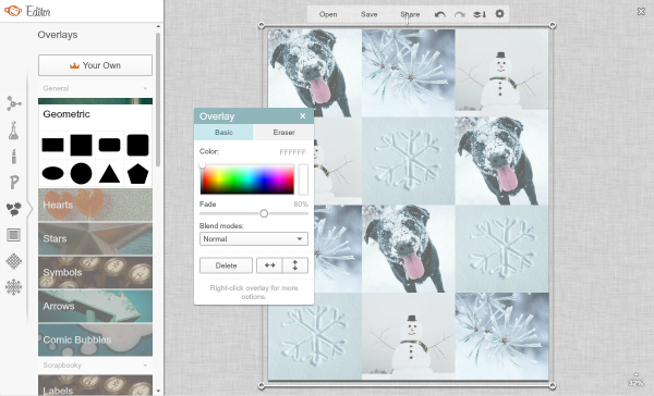 Screen shot of adding a rectangular overlay over top of collage
