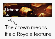 screen shot of a Royale feature showing where the crown icon sits.