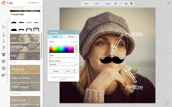 screen shot showing mustache overlay and resize handles