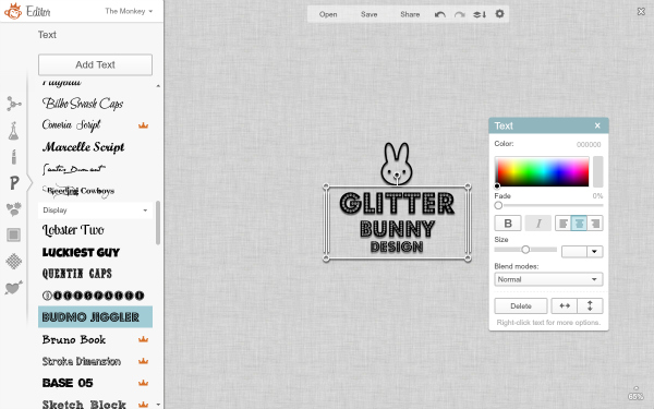 screen shot of creating logo in editor_watermark tutorial