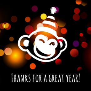"image of The Monkey in a party hat saying ""Thanks for a great year!"""
