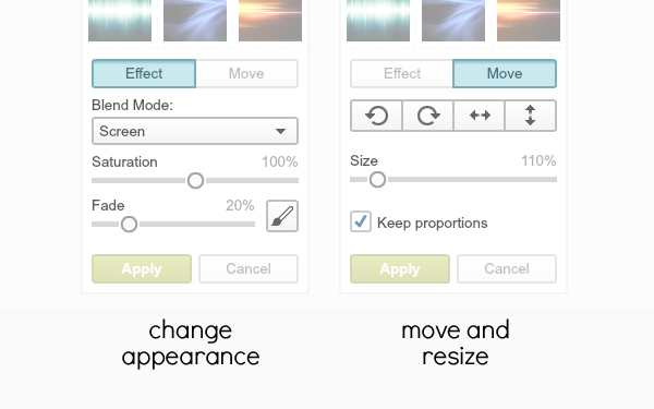 """controls that appear when """"Effect"""" and """"Move"""" buttons are clicked"""
