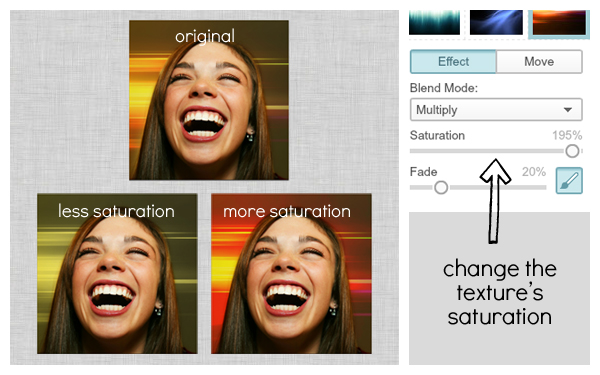screen shot of saturation controls and three different looks achieved by adjusting them