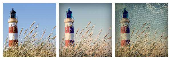 step by step images showing layering of postal overlays over lighthouse photo