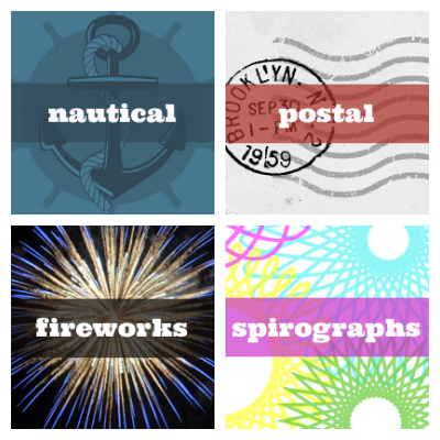 images of nautical, postal, fireworks, and spirograph overlays