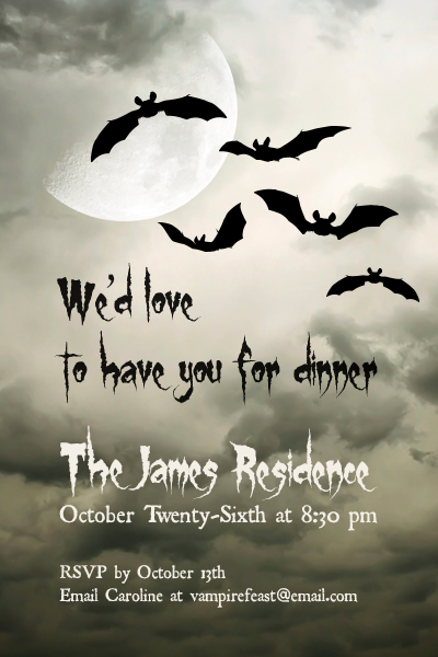 Image of a Halloween party invitation with bats and moon