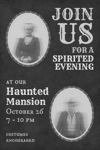 Haunted House party invitation featuring Phantom overlays