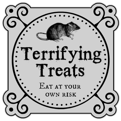 image of a Halloween treat bag label featuring rat overlay