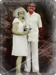 wedding couple made over as demon/zombies