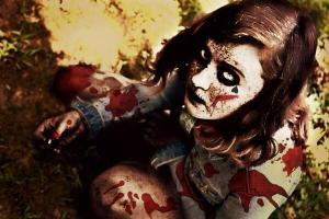 photo of bloody zombie girl
