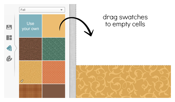 screen shot showing dragging a swatch into a collage cell