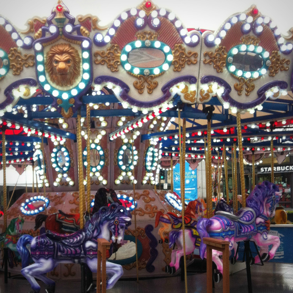 Winter carousel adorned with thousands of lights