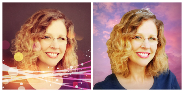 photos showing before and after light effects and tiara overlay