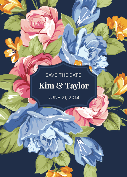 design for a floral save the date card