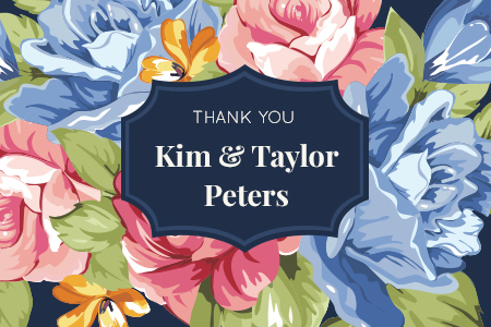 design for a thank you card based on the floral save the date card