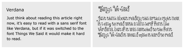 two blocks of text with different fonts _ Verdana and Things We Said